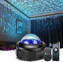 Star Projector Nachtlampje, SOLMORE Roterende Ocean Wave Nachtverlichting, Bluetooth Muziekspeler met Timer & Afstandsbedi...