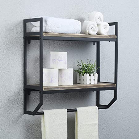 Amazon Com 2 Tier Bathroom Storage Shelf With Towel Bars Wall Mounted Wood Floating Shelf With Towel Rods For Bathroom And Kitchen 13 4 L X 5 5 W X 15 H Kitchen Dining
