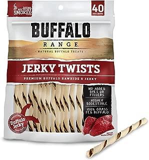 Buffalo Range Rawhide Dog Treats | Healthy, Grass-Fed Buffalo Jerky Raw Hide Chews | Hickory Smoked Flavor | Jerky Twist