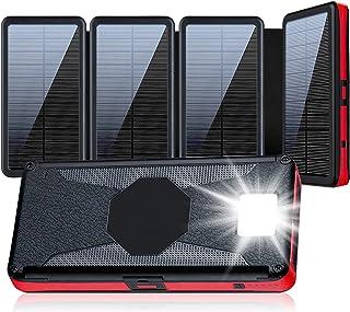 【36800mAh大容量 &4枚ソーラーパネル搭載 &高輝度LEDライト付き】 ソーラーモバイルバッテリー ソーラーチャージャー 大容量 3way蓄電 2台同時充電(Type-C/Micro USB入力+2つUSB出力ポート) 携帯式充電器...