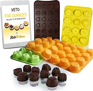 Keto Fat Bombs Silicone Molds - Cookbook: 70 Fat Bomb Keto Snacks Foods Low Carb Chocolate Recipes Ebook + Silicon Cupcake Muffin Baking Cups Pan Mold