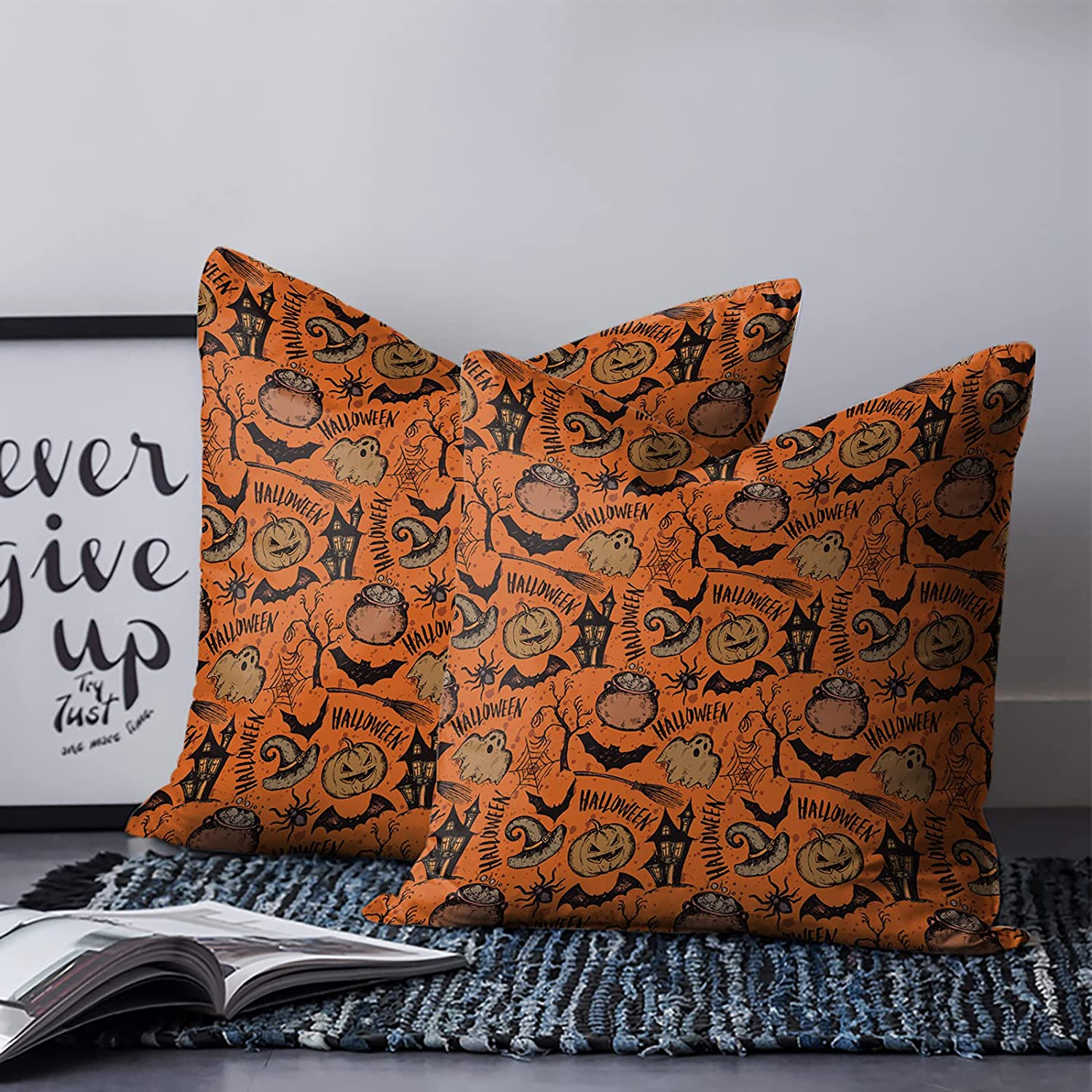 Throw Pillow Cover Happy Halloween Pumpkin S Max 60% OFF Hat Bat Witch Max 43% OFF Magic