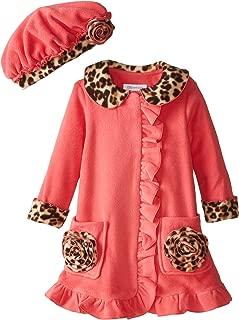 Bonnie Jean Little Girls' Coral Fleece Coat with Leopard Trim
