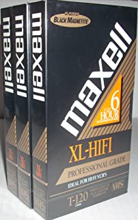 Maxell Video Cassette High Fidelity Xl-hifi T-120 Vhs Professional Grade (3 Pack)