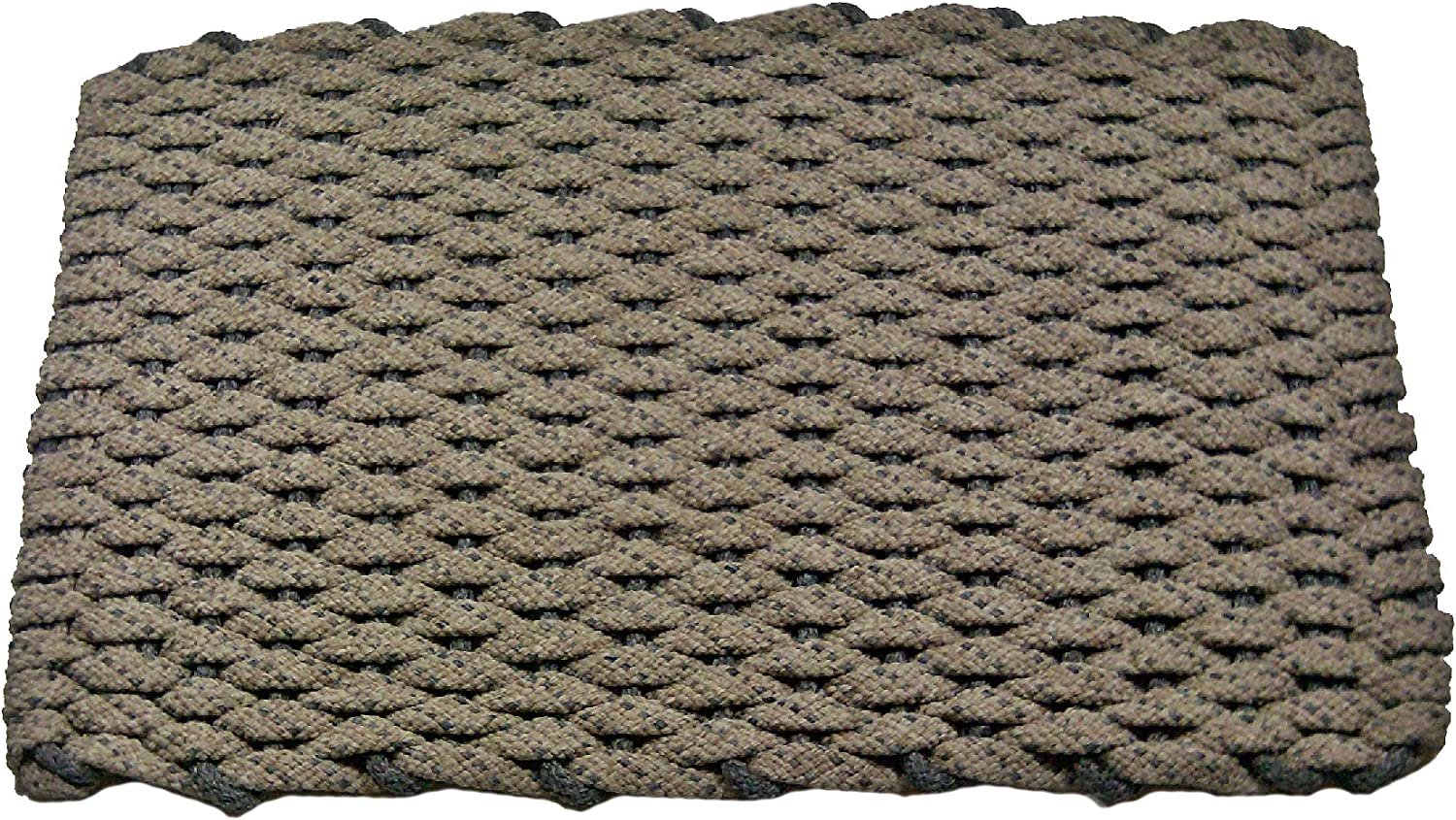 Rockport Rope Doormats 2038225 Kitchen Comfort Mats, 20 by 38-Inch, Tan with Two Brown Stripes with Brown Insert