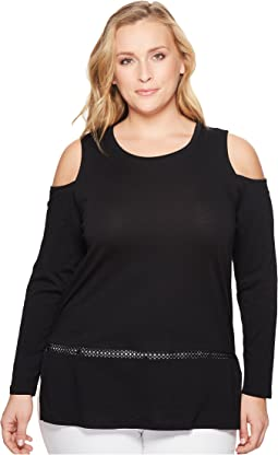 MICHAEL Michael Kors Plus Size Long Sleeve Cold Shoulder Insert Top