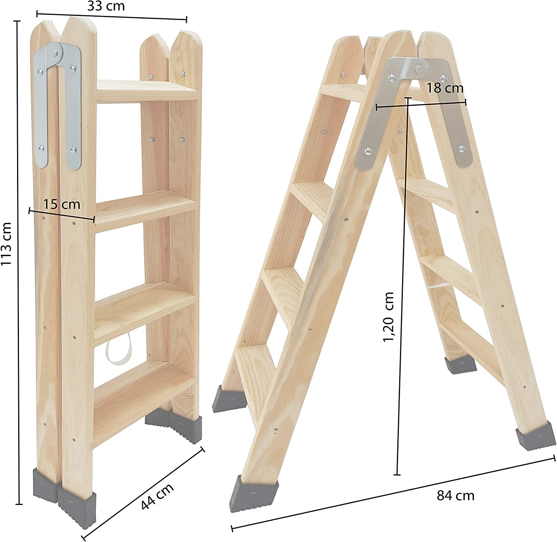 3 Pelda/ños Electricista o hasta para su hogar! Escaleras Tijera de Madera Pino Doble Subida Certificadas Ideal para Profesionales Pintor Escayolista