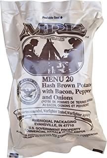 Ultimate 2018 US Military MRE Complete Meal Inspection Date January 2018 or Newer (Hashbrowns Bacon Pepper and Onions)