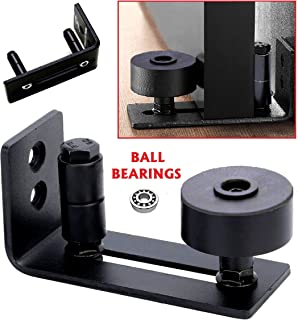 Floradis Flat Guide for Sliding Barn Doors/Ultra Smooth Ball Bearings Stay Roller/Completely Flush to Floor/Thin Fully Adjustable Wall Mount Bracket/Scratch Resistant Wheels/ 15 Different Settings