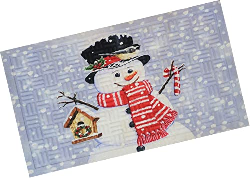 """popular Sunnydaze 17.5"""" x 29"""" Indoor new arrival Rubber-Backed Holiday Door Mat - 75-Percent Rubber and 25-Percent Polypropylene new arrival Construction - Cute Christmas Decor - Low Profile, Nonslip Design - Snowman White outlet sale"""