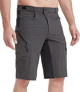 Priessei Mens Mountain Bike Biking Shorts Lightweight MTB Cycling Shorts with Zip Pockets