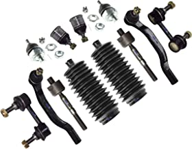 PartsW 12 Pc Front Suspension Kit for Honda Accord 98-02 / Sway Bar Link Left and Right Side, Inner and Outer Tie Rods, Upper Ball Joints (Adjustable) Bellow Boots