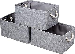 Syeeiex Lotde 3 Grandes boîtes de rangement décoratives en tissu avec poignées,paniers rangement pliables, parfaits pour é...