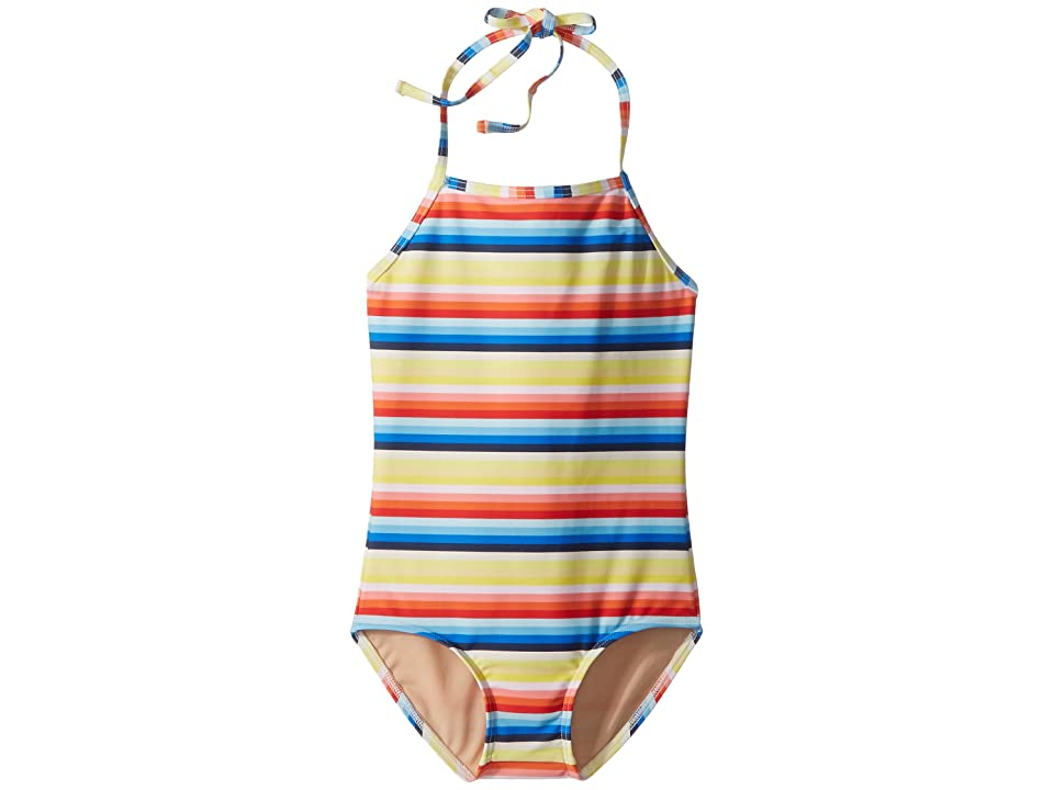 Toobydoo Retro Rainbow Stripe One-Piece Swimsuit (Infant/Toddler/Little Kids/Big Kids) (Multi) Girl