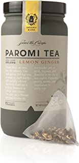 Paromi Tea Lemon Ginger Tea Full-Leaf, 15 Tea Bags, Moderately Caffeinated Organic Oolong Tea with Organic Lemongrass, Organic Ginger Root, Natural Lemon Flavor