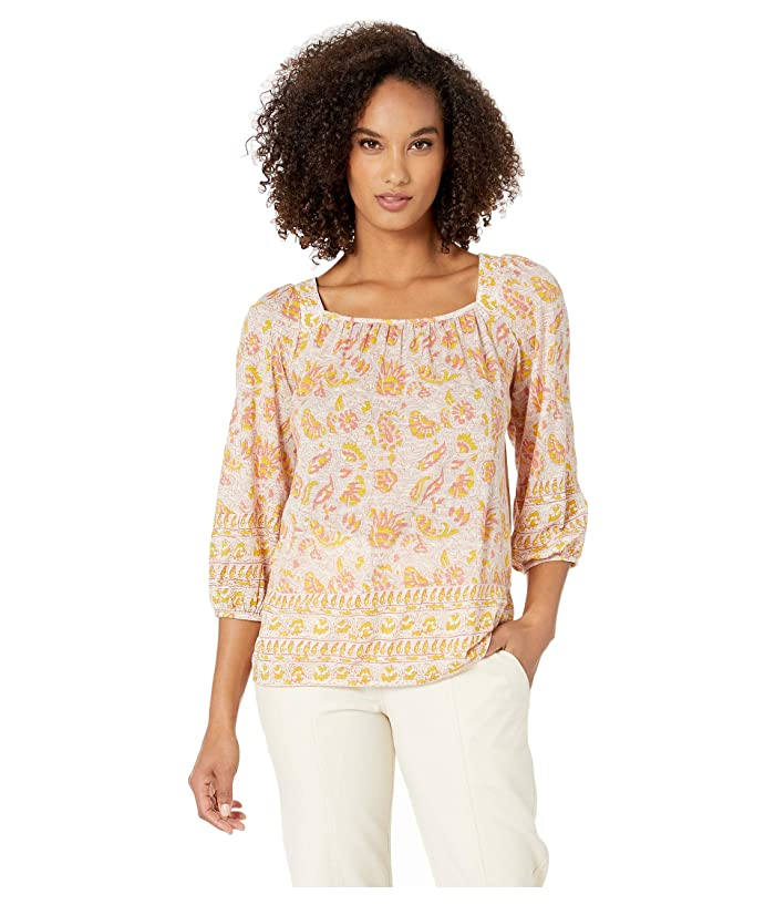 Lucky Brand  Border Print Peasant Top (Multi) Womens Clothing