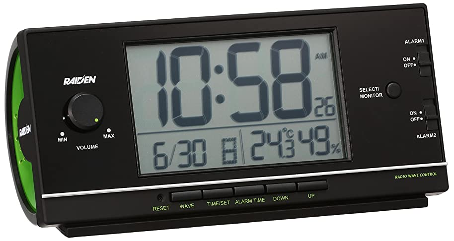 たぶん気球入り口セイコー クロック 目覚まし時計 電波 デジタル 大音量 PYXIS ピクシス RAIDEN ライデン 黒 NR534K SEIKO