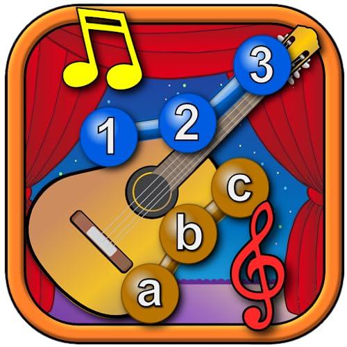 Participar de instrumento Musical de crianças e conectar-se a enigmas de pontos - aprender as formas de números do ABC e contando apropriado para crianças e crianças de tenra idade pré-escolar 2 +