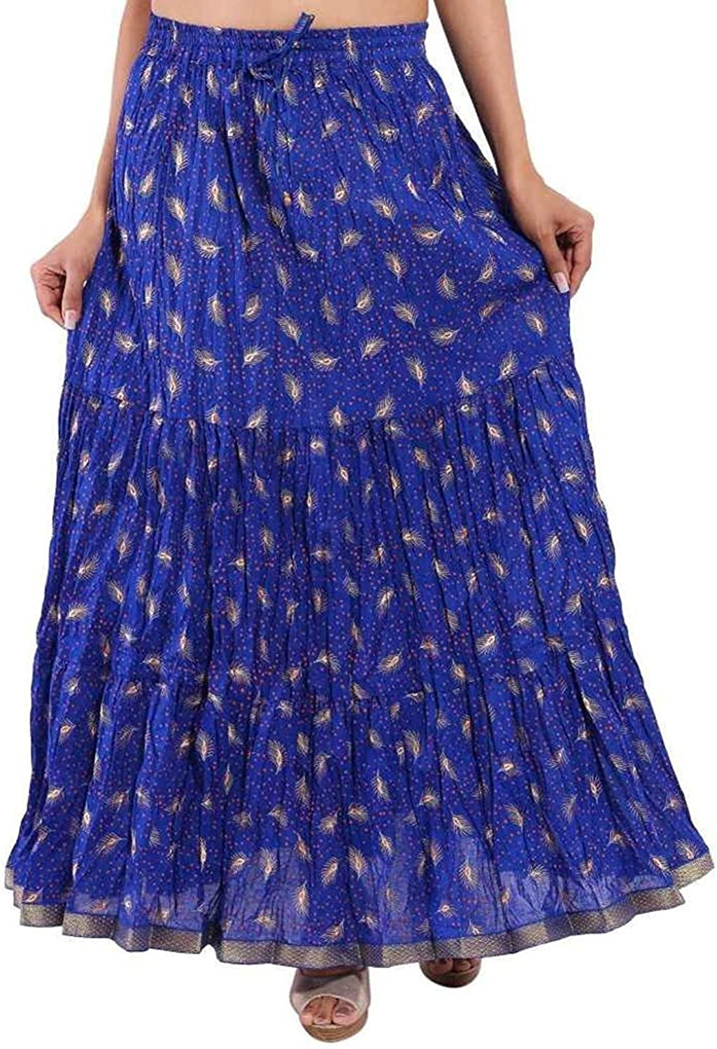 Indian Handicrfats Export Cotton gold Printed Tired Design Long Skirt for Women