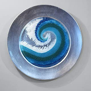 Fused Glass Crashing Ocean Wave Art Panel Charger Plate Wall Hanging