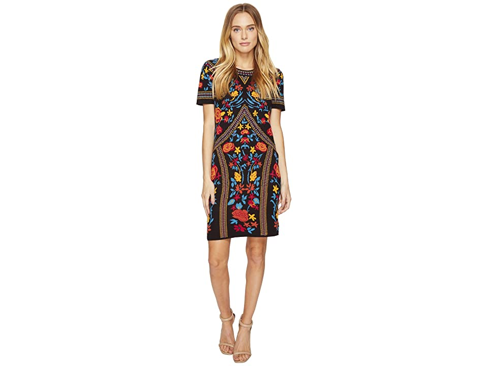 ROMEO & JULIET COUTURE Floral Geometric Patterned Dress (Black Combo) Women