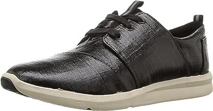 TOMS Women's Del Rey Sneaker Black Patent Linen 5.5 B US