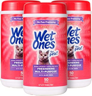Wet Ones for Pets Freshening Multipurpose Wipes for Cats with Aloe Vera, 50 Count - 3 Pack | Easy to Use Cat Cleaning Wipe...