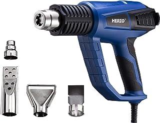 HERZO Pistola de Aire Caliente 2000W 3 Temperatura Ajustable Modelos (50 ℃/500℃/600℃) con 4 Boquillas