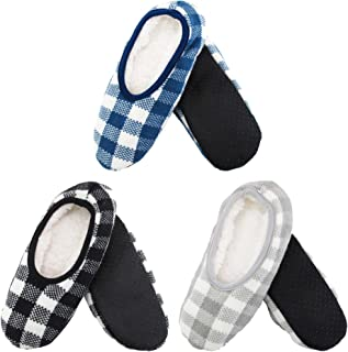 Adult Size Medium/Large Super Soft Warm Cozy Fuzzy Indoor Home Travel Slippers Non-Slip Lined Socks