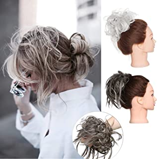 SEGO Tousled Updo Messy Bun Hair Piece Tousled Hair Scrunchie Messy Hair Bun Scrunchy Scrunchies Bun Hairpiece Synthetic Bun Extensions Attached by Elastic Rubber Band #6AH613