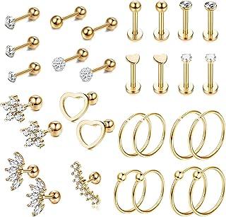 YADOCA 30 Pezzi Helix Orecchini Piercing Acciaio Inossidabile per Uomo Donna Set Orecchini Cuore Fiore CZ Orecchino Cartil...