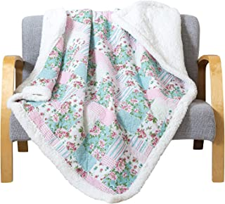 Soul & Lane Printed Cotton Throw Blanket Layla Patchwork with White Fleece/Sherpa (50