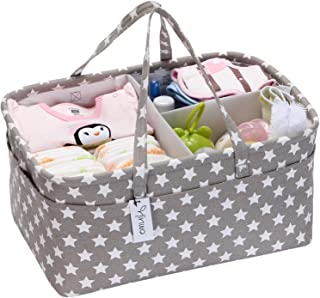 Hinwo Baby Diaper Caddy 3-Compartment Infant Nursery Tote Storage Bin Portable Car Organizer Newborn Shower Gift Basket with Detachable Divider and 10 Invisible Pockets for Diapers & Wipes (Grey Star)