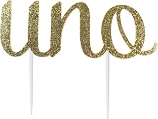 CMS Design Studio Handmade 1 ª Primera Birthday Cake Topper Decoration - Uno - Made in USA with Double Sided Gold Glitter Stock