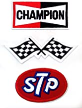 Set_MOTOR001 - STP Oil Patch, Auto Racing Patches Set - Motor Patches - Applique Embroidered patches - Iron on Patches - Backpack Patches - Champion Patch, Racing Flag Patch, STP Oil Patches