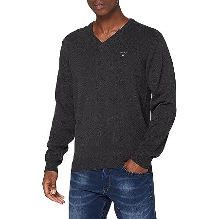 GANT Men's Superfine Lambswool V-Neck Sweater, Antracit Melange, X-Small