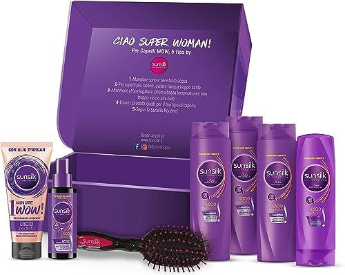 Box Sunsilk Liscio Perfetto, 3 Shampoo Capelli Lisci 250ml, 1 Balsamo Capelli Lisci 200 ml, 1 Sunsilk 1 Minute Mask L...