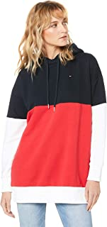 Tommy Hilfiger Women's Colour-Blocked Drawstring Hoody, Midnight/True Red/White