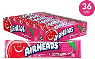 Airheads Candy, Individually Wrapped Full Size Bars for Halloween, Strawberry, Bulk Taffy, Non Melting, Party, 0.55 Ounce (Pack of 36)