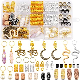 Messen 121 PCS Dreadlocks Jewelry Crystal Wire Wrapped Loc Adornment Imitation Wood Beads Braid Accessories Aluminum Hair Cuffs Beard Tube Beads Hair Coils Rings Pearl Hair Pendants for Braids Hair Clip Decoration (Multiple Styles)