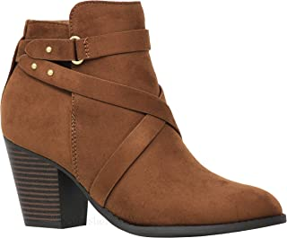 MVE Shoes Womens Buckle Strap Chunky Heel Ankle Booties