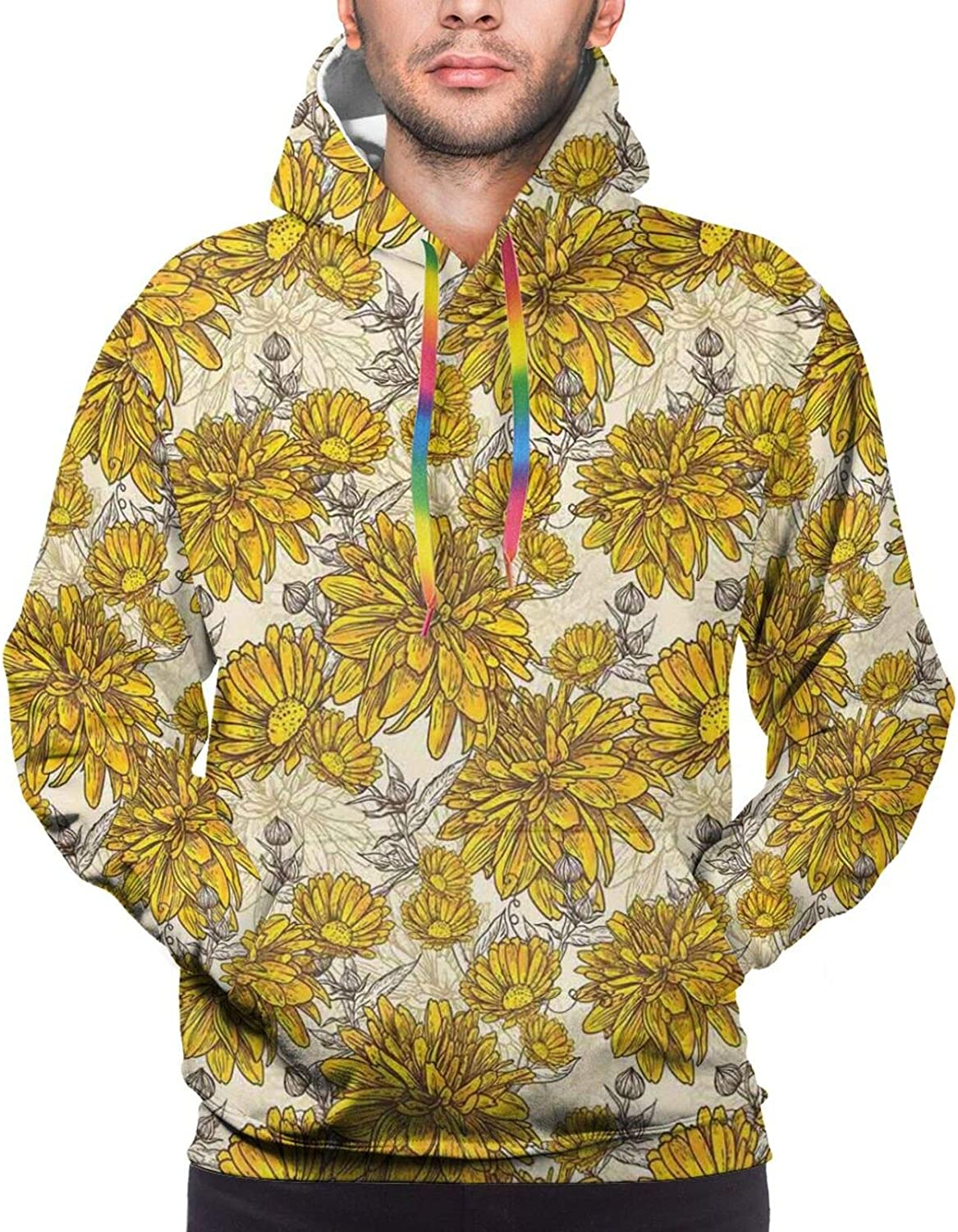 Men's Hoodies Sweatshirts,Lily Blooms Nature Herbs Doodle Style Flower and Foliage Arrangement