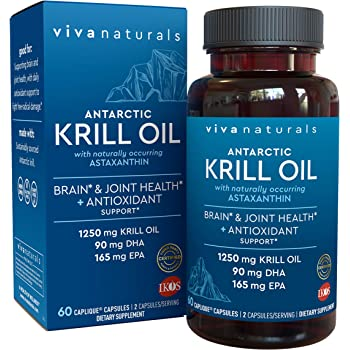Krill Oil Supplement - Antarctic Krill Oil 1250 mg, Crill Oil Omega 3 with Astaxanthin, DHA Supplements for Joint and Brain Health, No Fishy Taste & Easy to Swallow, 60 Capsules.