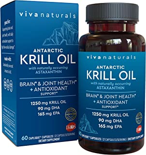 Krill Oil Supplement - Antarctic Krill Oil 1250 mg, Crill Oil Omega 3 with Astaxanthin, DHA Supplements for Joint and Brai...