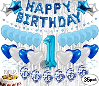 1st Birthday Decorations for Boys Firsts Birthday Party Supplies Blue Happy Birthday Banner Blue Confetti Balloons for him Silver Curtain Backdrop Props or Photos Happy Bday Prince Boy