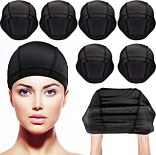 Tatuo 8 Pack Dome Caps Stretchable Wigs Cap Spandex Dome Style Wig Caps For Men Women (Black Nylon Wig Caps)