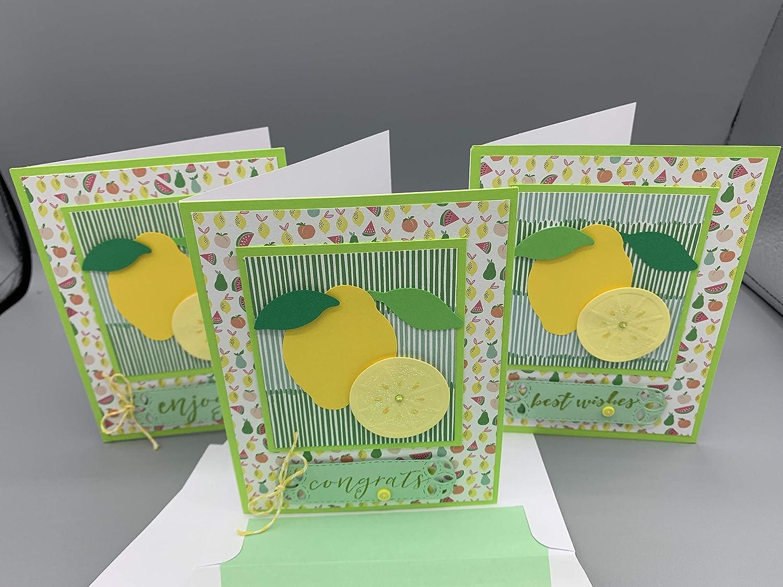 Lemon Greeting Card Set of Las Vegas Mall 3 Handmade Each Best One Many popular brands Wishes