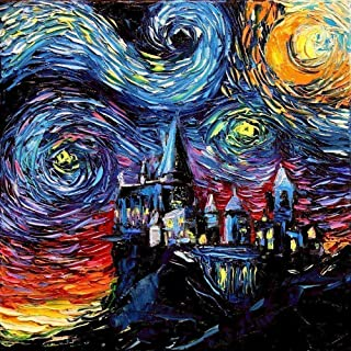 Castle Potter fantasy Art Print Starry Night van Gogh Never Saw Hogwarts by Aja choose size and type of paper