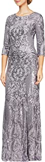 Alex Evenings Women's Long Sequin Dresses with ¾ Sleeves