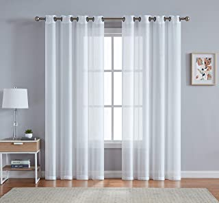 DecoSource Grommet Semi Sheer Curtains - 2 Pieces - Total Size 108 Inch Wide (54 Inch Each Panel) - 95 Inch Long - Panel Beautiful, Elegant, Natural Light Flow, and Durable Material (54
